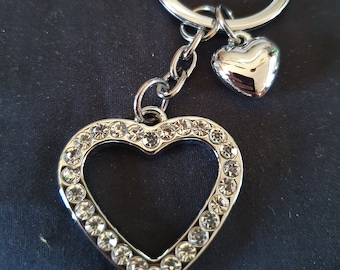 diamante chromed  heart with heart charm sturdy top quality keychain keyring   handmade in uk