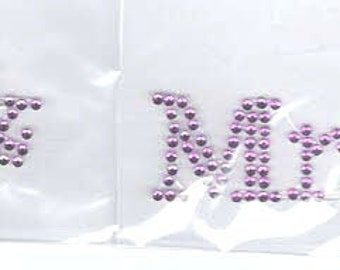 mr & mrs purple crystal  pair of shoe stickers easy to apply
