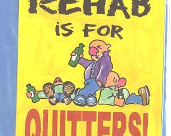 rehab is for quitters slapstick funny stickers pack of 1 (as shown) self adhesive fun stickers