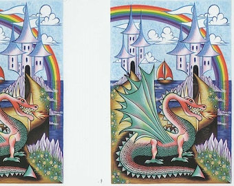 dragon and castle 2 on sheet decoupage sheet high quality printed on quality paper ideal cards etc