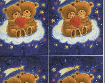 stars and heart bears decoupage sheet high quality printed on quality paper
