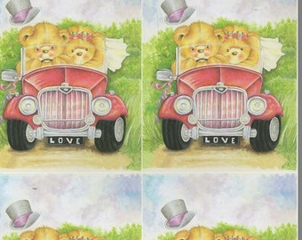 wedding bears decoupage sheet high quality printed on quality paper