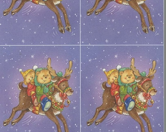 xmas theme reindeer ride decoupage sheet high quality printed on quality paper