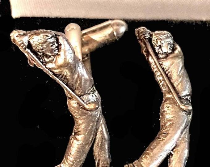 golfer style pewter metal  design Cufflinks in gift box cufflinks unused vintage
