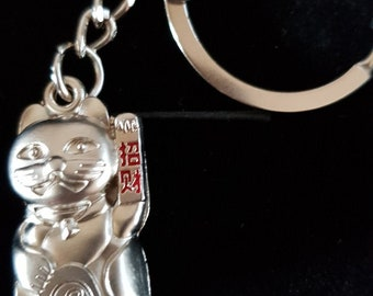 silver waving cat design keyring, keyfob, lucky chinese waving cat.