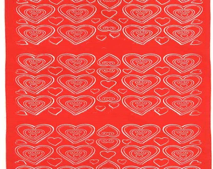 red hearts sheet of peel off stickers  ideal cards, papercraft, displays, scrapbooking