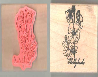 wooden rubber stamp flowers hollyocks new ideal papercraft,tool,