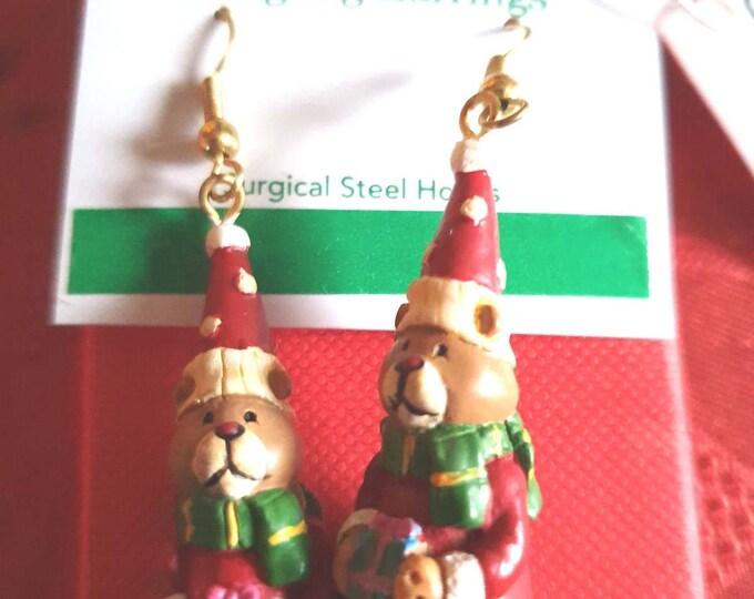 rare xmas russ berrie santa bear earrings, ideal gift novelty earrings new vintage