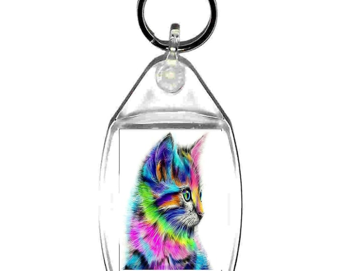 the coloured cat keyring  handmade in uk from uk made parts cymru wales