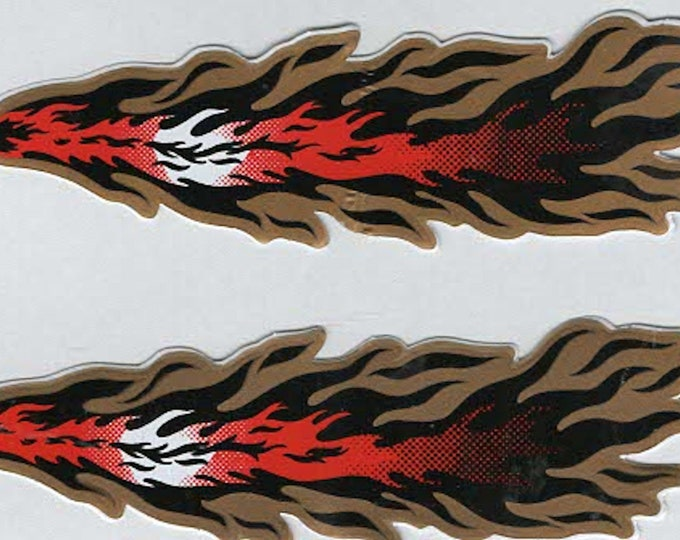 pack of 2 asstd flame stickers 11x2cm approx (as shown) self adhesive fun stickers