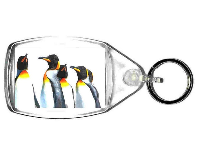 keyring double sided penguins brigade, keychain, keyfob made in uk