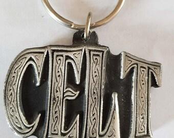 british pewter large celt, celtic design keyring, keyring, keyfob, keychain,  uk