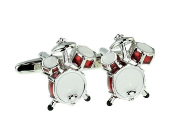 Red Drums Music Cufflinks silver and red  kit drumkit cufflinks gift boxed
