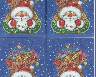 xmas theme santa sleight decoupage sheet high quality printed on quality paper