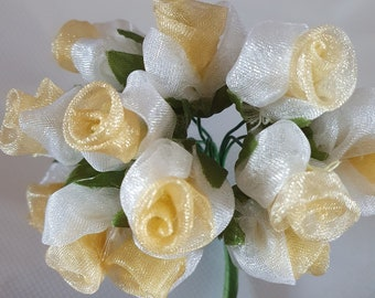 12 white and gold  flowers ideal for crafts,and decoration