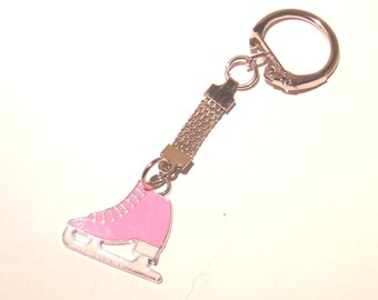 pink and white enamel finish ice skkate keyring made in uk from uk made parts