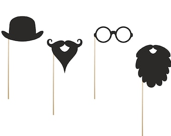 Props on a stick the set contains a long beard, a short beard, glasses and a bow