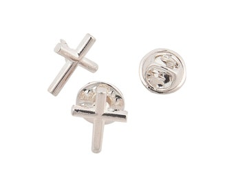 silver cross pin badge, Lapel Pin Badge / tie pin. in gift box silver 1 supplied