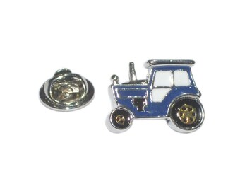 blue tractor silver plated enamel finish tie pin, Lapel Pin Badge, in gift box