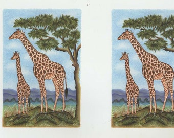 giraffe and baby 2 on sheet decoupage sheet high quality printed on quality paper ideal cards etc