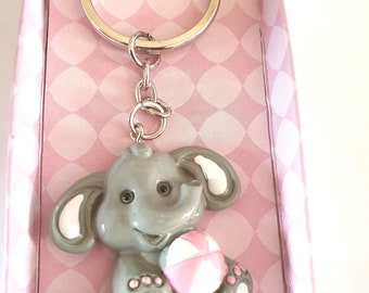 elephant with pink ball unused new boxed keychain keyring