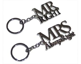 Mr Right & Mrs Always Right Silver Plated Keyrings. Presented in beautiful rigid gift box