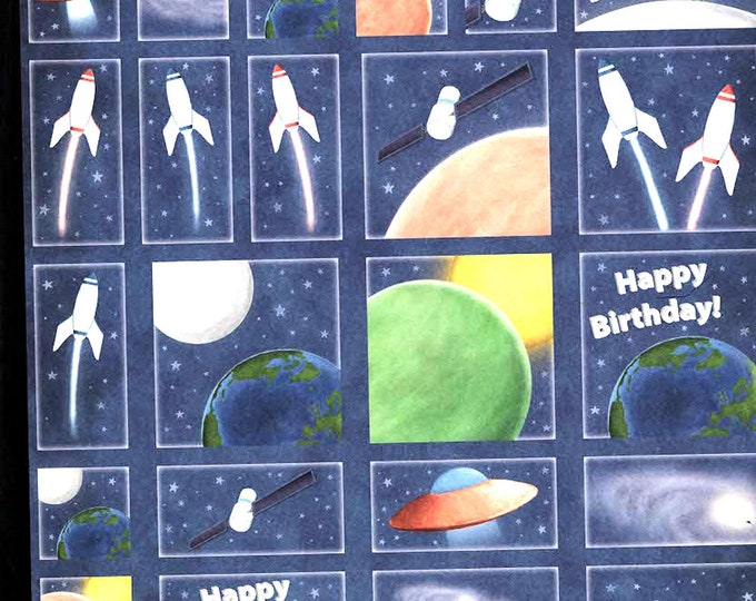birthday space theme decoupage sheet high quality printed on quality paper  etc