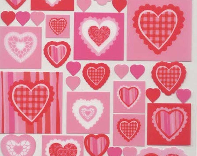 pink hearts peel off stickers  ideal cards, papercraft, displays, scrapbooking ,