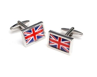 uk flag design Cufflinks cuff links in gift box the red,white and blue union