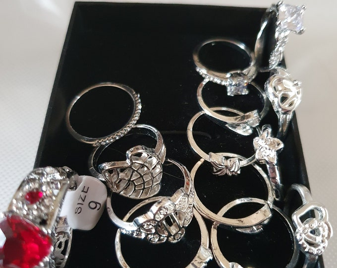 rings new items joblot, sterling silver clearance crystal one has diamond s in all ideal shop,online etc all items in photo