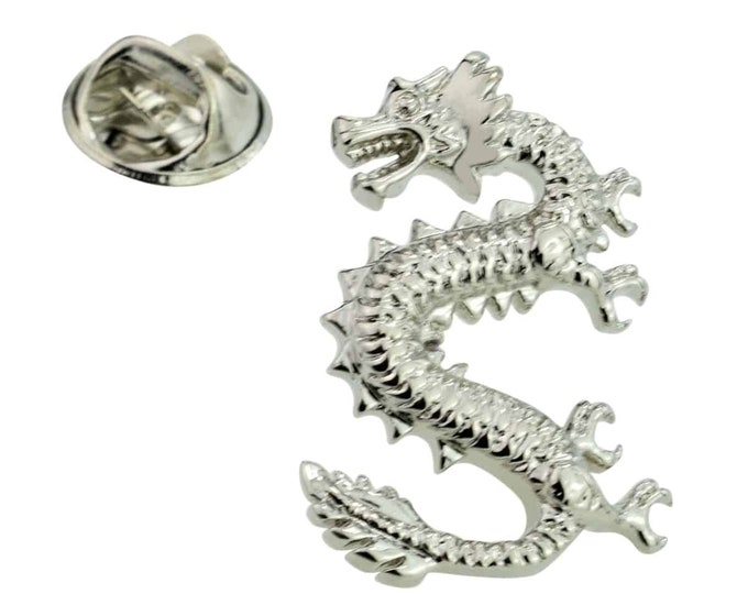 chinese style silver dragon Lapel Pin Badge / tie pin. in gift box very detailed
