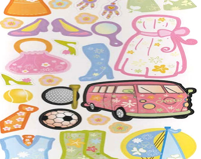 fun in the sun sheet of peel off stickers  ideal cards, papercraft, displays,