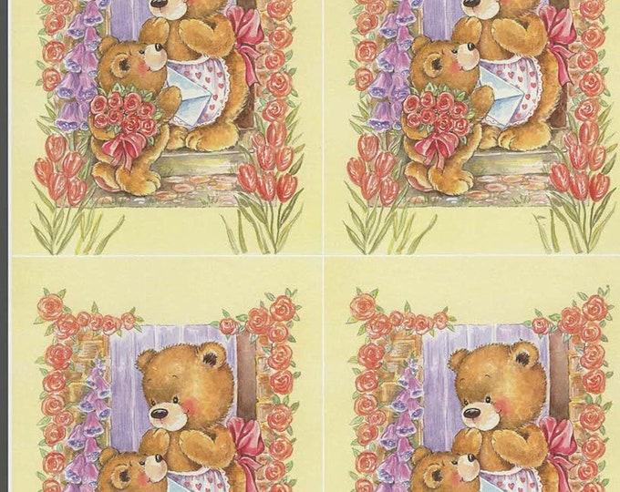 teddy bears in flower doorway style decoupage sheet high quality printed