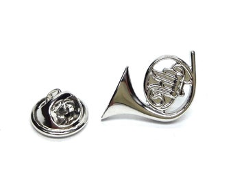 silver  French Horn  tie pin, Lapel Pin Badge, in gift box detailed design