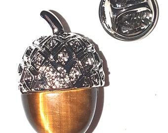 real tigers eye crystal in acorn Design  / tie pin,lapel pin, badge