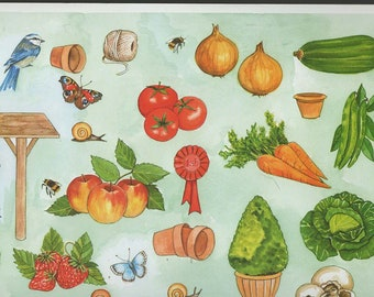veg garden theme decoupage sheet high quality printed on quality paper