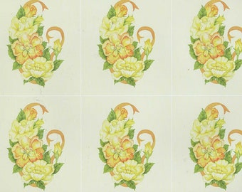 yellow flowers  decoupage sheet high quality printed on quality paper