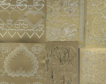 6 gold sheets lot mixed sheets of peel off stickers  ideal cards, papercraft,
