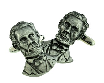Abraham Lincoln American President Pewter Cufflinks  usa. in gift box