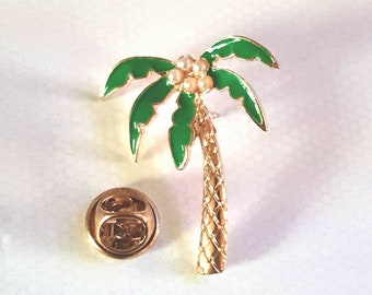gold palm tree Lapel /tie Pin Badge 3d effect with clip for rear gift boxed