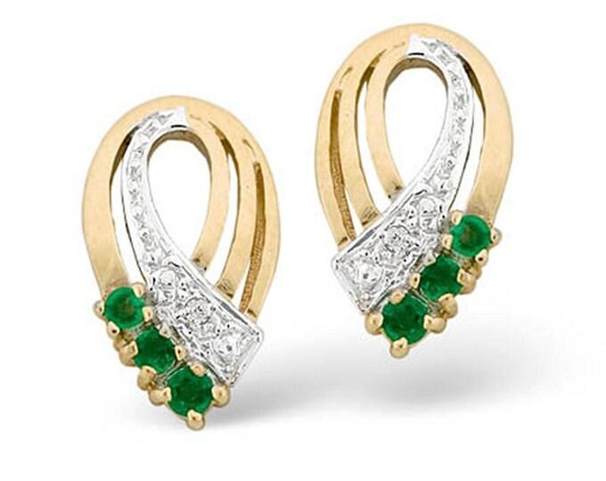 9K Gold plus Diamond & 8mm x 15mm Emerald Earrings
