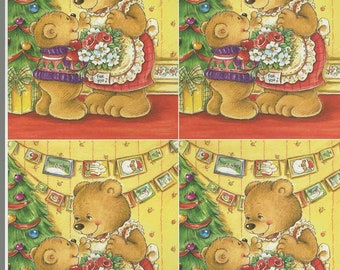 xmas theme mum and child bears decoupage sheet high quality printed on quality paper
