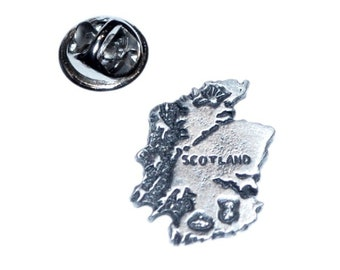 scotland map English Pewter Lapel /tie Pin Badge 3d effect with clip for rear