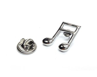 Quaver Music Note silver   tie pin, Lapel Pin Badge, in gift box detailed design