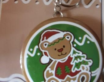 christmas theme teddy keyring with mirror, keychain keyring  ideal gift