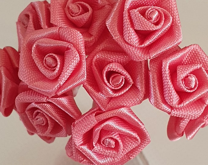 12 pink  flowers ideal for crafts,and decoration