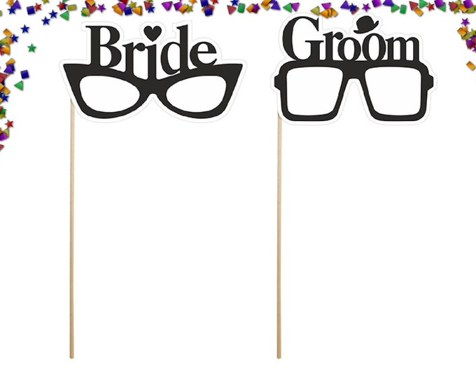 Props on a stick Bride & Groom Glasses,  1 pair, wedding,stag,hen etc