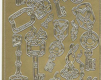 gold keys theme mixed sheet of peel off stickers  ideal cards, papercraft