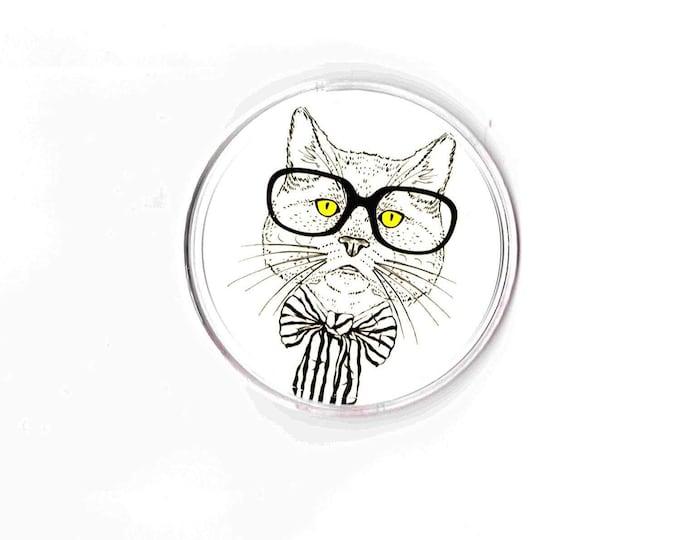 round yellow eye cat coaster, made in uk drinks, plate  etc coaster, copyright