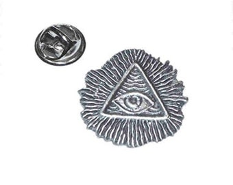 all seeing eye English Pewter Lapel /tie Pin Badge 3d effect with clip for rear